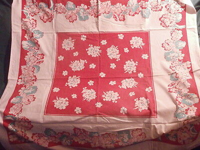 "Vintage White Cotton Tablecloth Floral in  red and teal green ~ 44"" square"