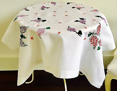 Vintage Linen Hand Embroidered Table Cloth Lilacs