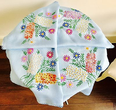 Vintage Blue Embroidered Table Cloth Stunning Florals