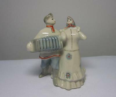 Russian boy and girl, musician Antique USSR russian porcelain figurine 4741u