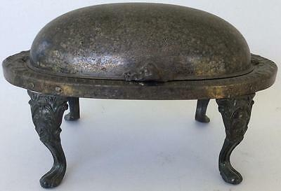 Antique Sheridan Revolving Butter dome oval silver plate footed stand roll top
