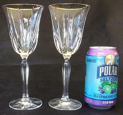 Set of 2~Pair~Vtg~Vendome Noritake Gold trim Wine glasses goblets Crystal
