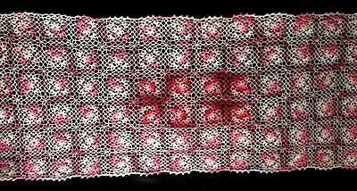 Old Vintage Country Style Adorable Red-Pink-White Crochet  Runner 32 1/2 x 13""