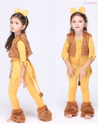 Kids Children Girl Halloween Cosplay Party Fancy Dress Lion Costume Outfit