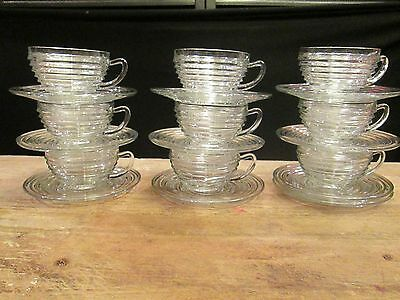 Set 9 Anchor Hocking Art Deco Manhattan Park Avenue Banded COFFEE CUPS & SAUCERS