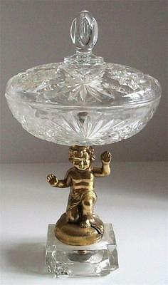 ANTIQUE Cut Crystal COVERED CANDY NUT DISH Cherub Pedestal VINTAGE