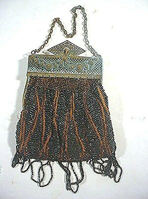 Vintage Ladies  Beaded Purse - Brass Clasp And Chain