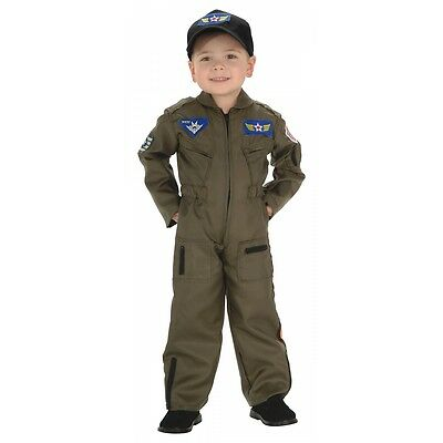 Air Force Costume Kids Pilot Flight Suit Halloween Fancy Dress