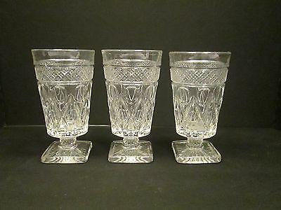 3x IMPERIAL Cape Cod Pattern CLEAR Footed ICE TEAS Water Glasses Goblets Vintage