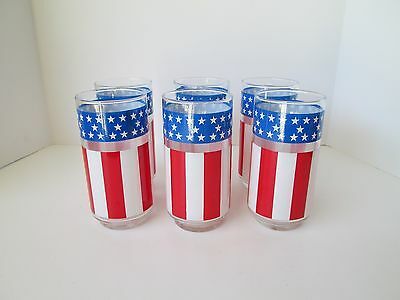 Set 6 LIBBEY Red White & Blue Glass Tumblers 4th of July USA Flag Stars Stripes