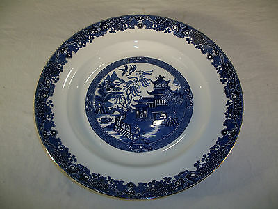 "Burleigh Ware Willow Burslem England 13.5"" Platter Blue Willow Gold Edge Plate"