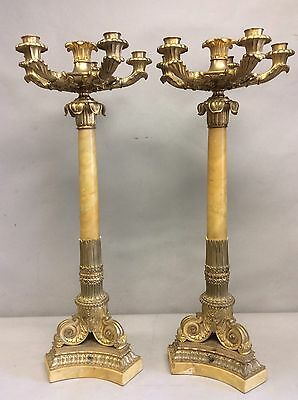 """Pair Six Candle Gilt Bronze/Marble Candelabra 28"""""""