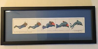 """Just Add Water In Grand Cayman"" Matted and Framed Drawings Ink Colored Art"
