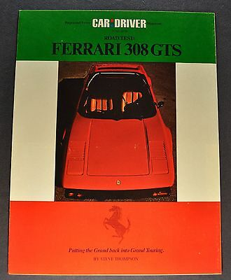 1978 Ferrari 308 GTS Road Test Brochure Folder Excellent Original 78