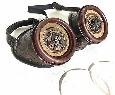 Steampunk  Cogs Embossed Goggles With Metal Skull Inserts And Clear Lens