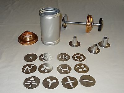 Vintage Mirro Aluminum Cookie Press Decorator With 12 Discs & 3 Pastry Tips
