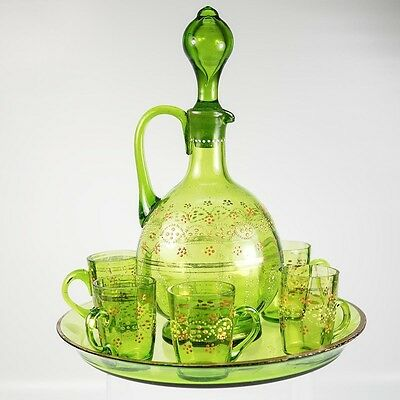 Antique French Liqueur Service, 19th C. St. Louis, Decanter, 5 Cordials & Tray