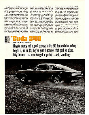1969 Plymouth Barracuda 340  ~  Original 3-Page New Car Preview Article / Ad