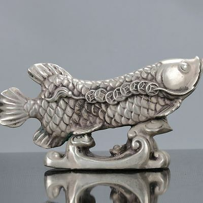 Collectible Chinese Silver Copper Handwork Carved Koi Fish Statue