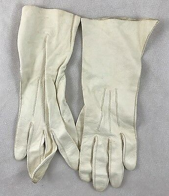 """Vintage White Leather Gloves Ladies Wrist Length Florence Italy 10"""" L Very Soft"""