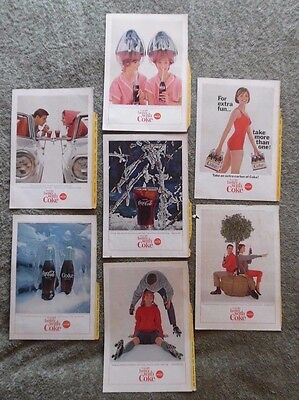 Lot of 7 National Geographic Coca Cola Coke Back Cover Ad 1964 - 1965