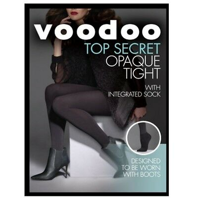 WOMENS 5 PACK VOODOO OPAQUE TIGHT WITH ANKLE SOCK Black Stockings Pantyhose BOOT