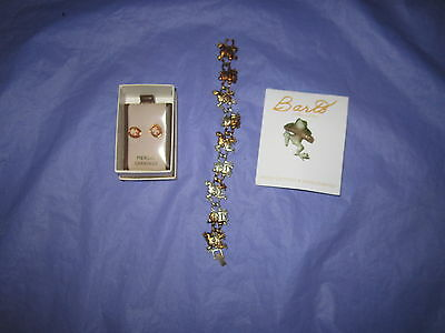 Frog Cameo Earrings, Frog Bracelet and Ben Barto Frog Pin