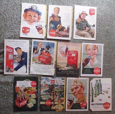 Lot of 11 National Geographic Coca Cola Coke Back Cover Ad 1950 1951 1952