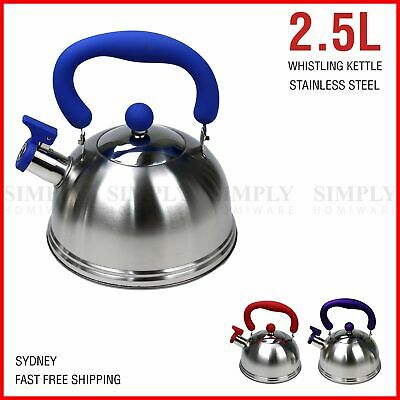 Whistling Kettle Stainless Steel Silver Tea Teapot Camping Stove Top 2.5L