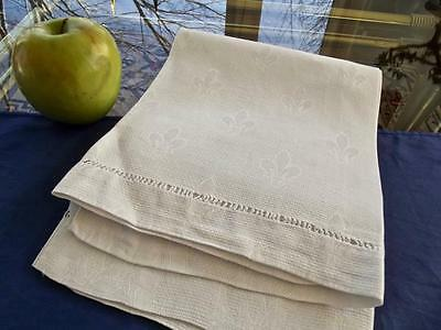 Antique Irish Huck Linen Bath Spa Towel 21x38 Damask Fleur de Liz Hemstitched