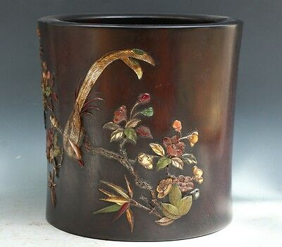 China Exquisite Hand-carved wood mosaic shell Flowers & birds pattern Pen holder