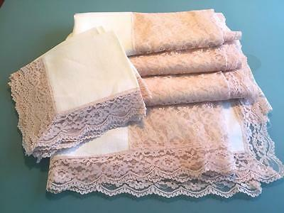 Vintage Homespun Linen Dusty Rose Alencon Lace  62x100 Tablecloth +8 Napkins