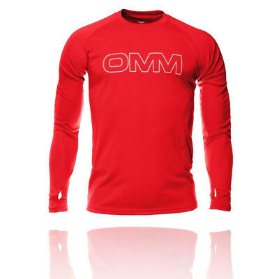 OMM Mens Red Trail Breathable Long Sleeve Crew Neck Running Sports Top