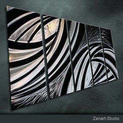 Original Metal Wall Art Abstract Large Black-Silver Indoor Outdoor Decor-Zenart