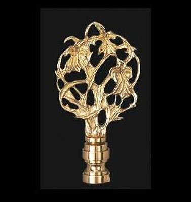 Vine Design Lamp Finial, Polished & Lacquered Brass Finish, #11080