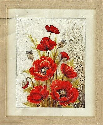 Modern Poppies Counted Cross stitch design kit - 24 x 33 cm - WAS $86.50-REDUCED
