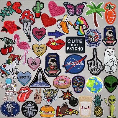 Set of Embroidered Iron On Patches Badge Hat Fabric Applique Clothes Craft DIY
