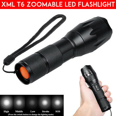 5000LM Police T6 LED Flashlight Rechargeable Tactical Torch Zoomable 18650 AAA