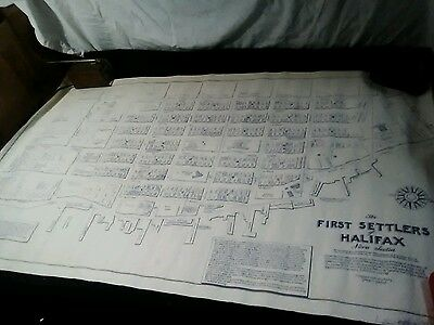"The First Settlers of Halifax Nova Scotia Canada street map with names 40"" X 24"""