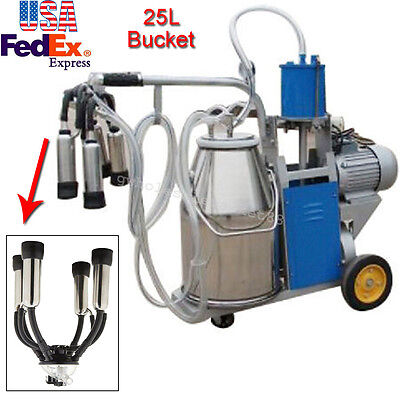 Portable Electric Milking Machine Milker cows goat Stainless Steel 25L W/ Bucket