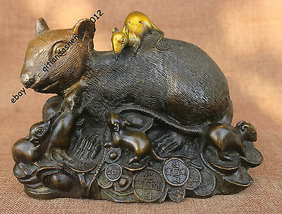"7.6""China Old Antique Pure Bronze Handmade Auspicious Lucky 9 Mouse Rat Statue"