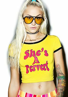 Sexy Womens Short Crop Tops She's a Pervert Casual Slim Vest Tank T-Shirt Tee