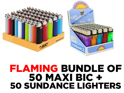 50 Classic Sundance + 50 MAXI J26 Genuine BIC Lighters 100 BUNDLE
