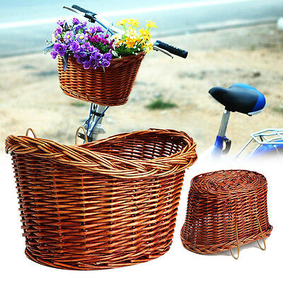 Trendy Style Brown Willow Wicker Bicycle Bike Front Basket With Straps
