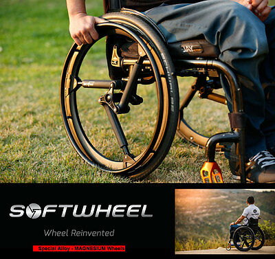 SoftWheel Magnesium Wheels with Shock Absorber Suspension System for Wheelchair