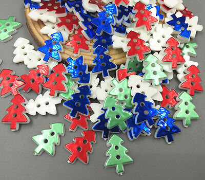 NEW 100X Mix-color Resin Christmas tree Sewing Buttons scrapbooking crafts 17mm