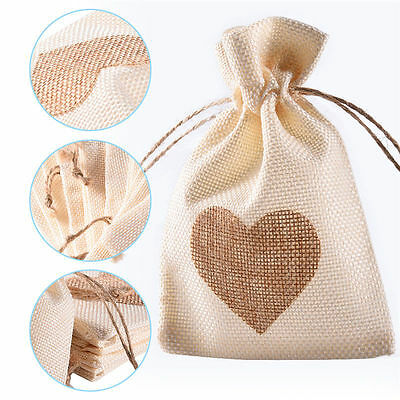 12pcs Linen Pouches Heart Pattern Drawstring Bags Wedding/Gift/Jewelry/Favor Bag