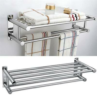 Stainless Steel Wall Mounted Bathroom Double Towel Shelf Rail Rack Holder Silver