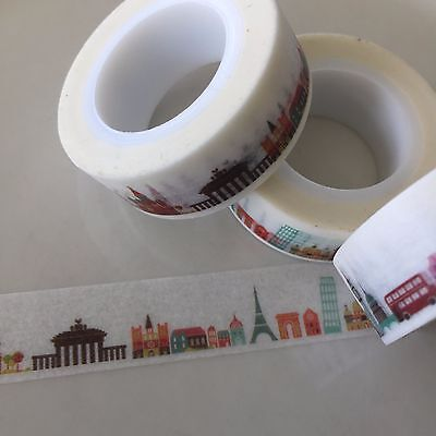 Washi Tape All The Monuments Travel 15Mm Wide X 10Mtr Roll Plan Craft Wrap