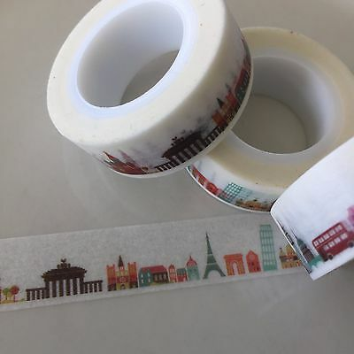 Washi Tape All The Monuments Travel 15Mm X 10Mtr Planner Craft Wrap Mail Art